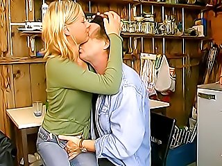 Cute nubile blonde gives horny old pervert a nasty blowjob and gets fucked from behind right in his private workshop