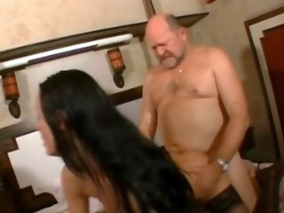 Stunning tight body is trapped by some old hung dude with big schlong in that video.