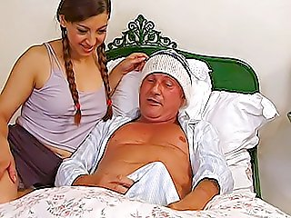 Grandpa gets a boner and luckily his cute nubile guest is more than willing to jump into his bed and have some fun