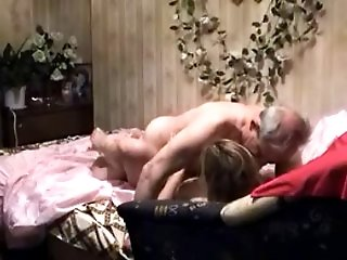 Sexy young blond gets seduced and fucked by a horny old guy