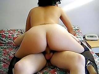 Slutty chick with delicious round ass rides hairy old dick and gets her wet pussy fucked deep, hard and dirty