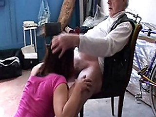 19 Year Old Babe Sucks Old Mans Cock & Swallows His Cum