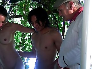 Kinky grandpa spies on two guys fucking a hot chick outdoors and joins the fun to show them how it's done