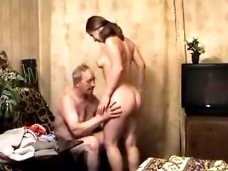 Lucky old guy enjoys having some fun with a beautiful young blond