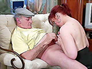 Kinky-ass grandpa gets a great blowjob from his much younger red-haired girlfriend and plays with her wet pussy