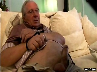 Horny brunette get wild and nasty over grandpa