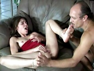 White brunette chick loves old daddy licking her ticklish feet