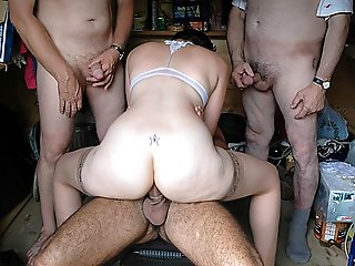 Eager nubile cutie with a star tattooed on her waist giving head and getting gangbanged by mature and old men