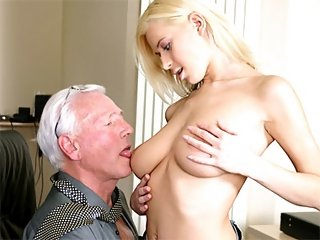 Blonde blowing boss
