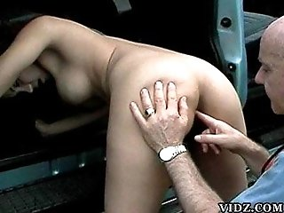 Busty brunette whore Aurora gets some fisting then gets laid by an old man!