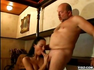 Dirty old man meat works young chick pussy