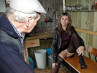 Euro chick in sexy stockings getting fisted while sucking old man's cock and taking some hard gangbang fucking