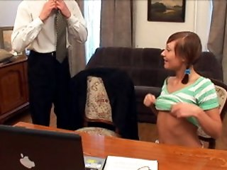 Innocent but very hot student gets her wet juicy lips on her teacher's hard dick.